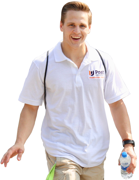 Post Student wearing white post polo carrying water bottle
